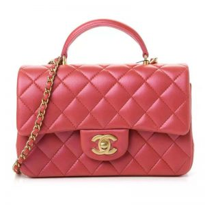 Chanel Women Mini Flap Bag with Top Handle Grained Calfskin Gold-Tone Metal Red