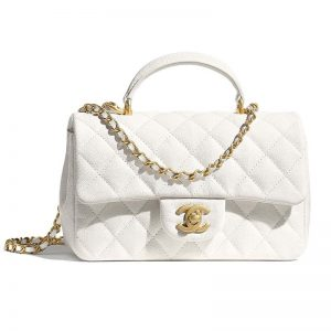 Chanel Women Mini Flap Bag with Top Handle Grained Calfskin Gold Tone Metal White
