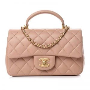 Chanel Women Mini Flap Bag with Top Handle Lambskin & Gold-Tone Metal Sandy