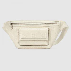 Gucci GG Unisex Black Embossed Belt Bag Tonal Leather