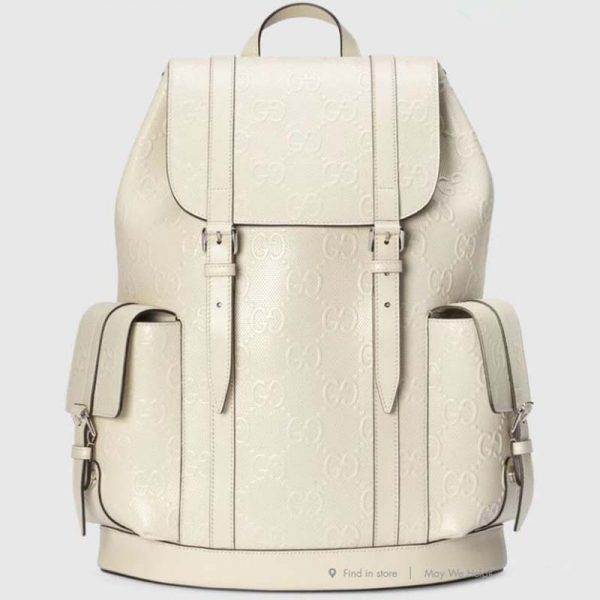 Gucci GG Unisex GG Embossed Backpack White GG Embossed Leather