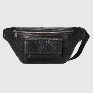 Gucci GG Unisex White Embossed Belt Bag Tonal Leather