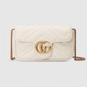 Gucci GG Women GG Marmont Matelassé Leather Super Mini Bag White Matelassé Chevron