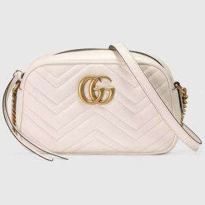 Gucci GG Women GG Marmont Small Matelassé Shoulder Bag White Double G
