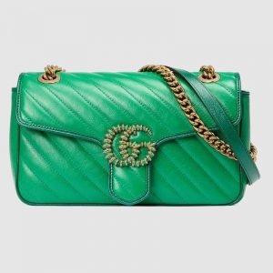 Gucci GG Women GG Marmont Small Shoulder Bag Bright Green Diagonal Matelassé Leather