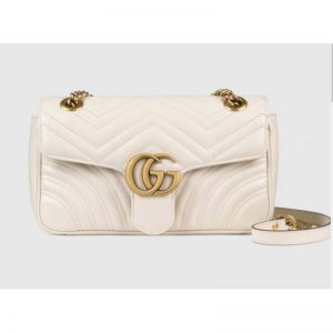 Gucci GG Women GG Marmont Small White Matelassé Shoulder Bag Double G