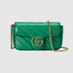 Gucci GG Women GG Marmont Super Mini Bag Bright Green Diagonal Matelassé Leather