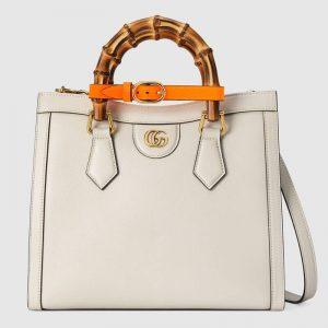Gucci GG Women Gucci Diana Small Tote Bag Double G White Leather