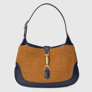 Gucci GG Women Jackie 1961 Small Shoulder Bag Camel Straw Effect Fabric Blue Leather