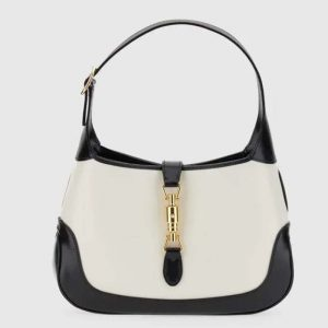 Gucci GG Women Jackie 1961 Small Shoulder Bag White with Black Leather