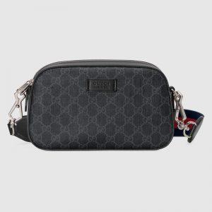 Gucci Unisex GG Black Shoulder Bag Black Grey GG Supreme Canvas