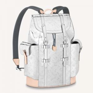 Louis Vuitton LV Unisex Christopher PM Backpack Monogram Mirror Coated Canvas Natural Cowhide