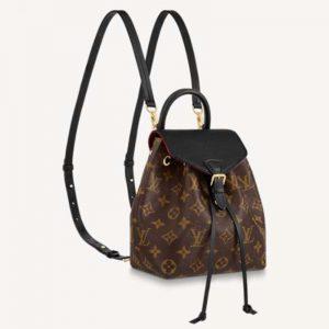 Louis Vuitton LV Unisex Montsouris BB Backpack Black Monogram Coated Canvas Cowhide Leather