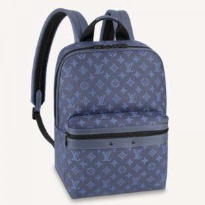 Louis Vuitton LV Unisex Sprinter Backpack Navy Blue Monogram Shadow Cowhide Leather