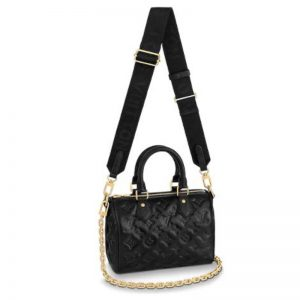 Louis Vuitton LV Women Speedy Bandoulière 22 Handbag Black Embossed Lambskin Leather