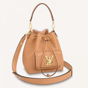 Louis Vuitton Unisex Lockme Bucket Bag Arizona Beige Grained Calf Leather