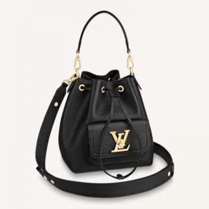 Louis Vuitton Unisex Lockme Bucket Bag Black Grained Calf Leather