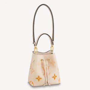 Louis Vuitton Unisex NéoNoé BB Bucket Bag Cream Saffron Embossed Grained Cowhide Leather