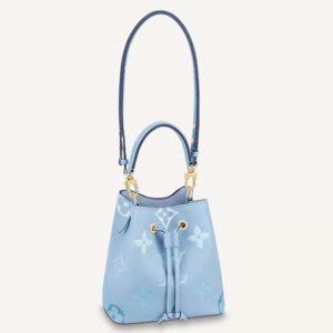 Louis Vuitton Unisex NéoNoé BB Bucket Bag Summer Blue Embossed Grained Cowhide Leather