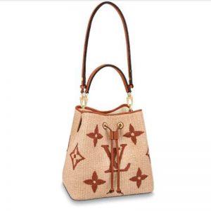 Louis Vuitton Unisex NéoNoé MM Bucket Bag Tan Sustainable Raffia-Like Woven Textile Cowhide