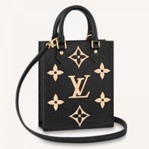 Louis Vuitton Unisex Petit Sac Plat Black Beige Monogram Empreinte Embossed Supple Grained Cowhide