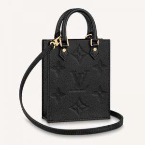 Louis Vuitton Unisex Petit Sac Plat Black Monogram Empreinte Embossed Supple Grained Cowhide