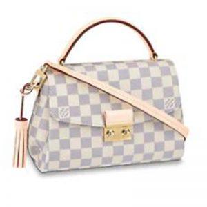 Louis Vuitton Women Croisette Damier Azur Coated Canvas Smooth Cowhide Leather