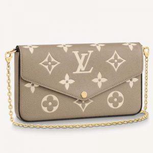 Louis Vuitton Women Félicie Pochette Grey Monogram Empreinte Embossed Supple Grained Cowhide