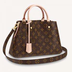 Louis Vuitton Women Montaigne BB Handbag Monogram Canvas Natural Cowhide Leather