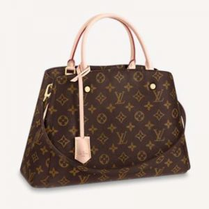 Louis Vuitton Women Montaigne MM Bag Monogram Coated Canvas Natural Cowhide Leather