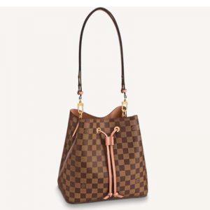Louis Vuitton Women NéoNoé MM Bucket Bag Venus Pink Damier Ebène Coated Canvas