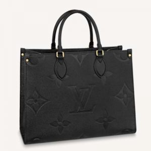 Louis Vuitton Women Onthego MM Tote Bag Tourterelle Beige Embossed Grained Cowhide