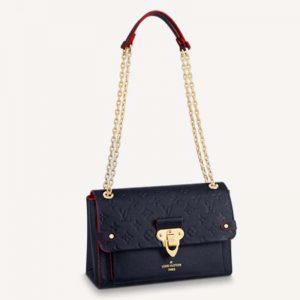 Louis Vuitton Women Vavin PM Handbag Navy Blue Red Embossed Supple Grained Cowhide