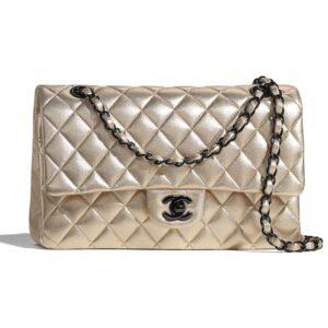Chanel Women Classic Handbag Metallic Lambskin Black Metal Gold