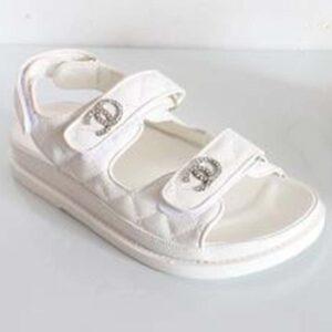 Chanel Women Open Toe Sandal in Calfskin Leather-White