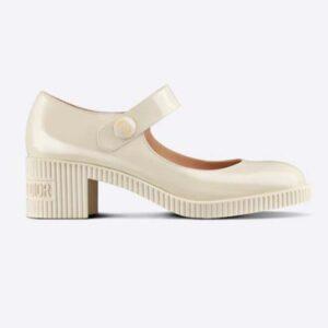 Dior Women Shoes D-Doll Pump White Shiny Calfskin CD Signature
