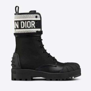 Dior Women Shoes D-Major Ankle Boot Black White Technical Fabric Black Calfskin