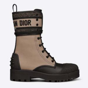 Dior Women Shoes D-Major Ankle Boot Taupe Black Technical Fabric Black Calfskin