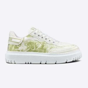 Dior Women Shoes Dior Addict Sneaker French Lime Toile De Jouy Technical Fabric
