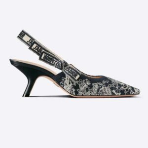 Dior Women Shoes J'Adior Slingback Pump Deep Blue Toile De Jouy Reverse Embroidered Cotton