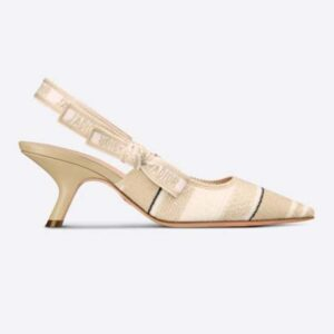 Dior Women Shoes J'Adior Slingback Pump Two-Tone Embroidered Cotton Ribbon Flat Bow
