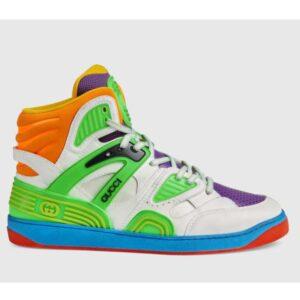 Gucci GG Unisex Gucci Basket Sneaker Lime White Demetra Rubber Interlocking G Patch