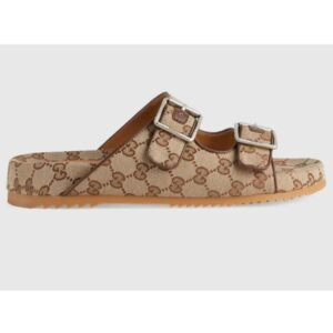 Gucci GG Unisex Slide Sandal with Straps Beige and Ebony Original GG Canvas