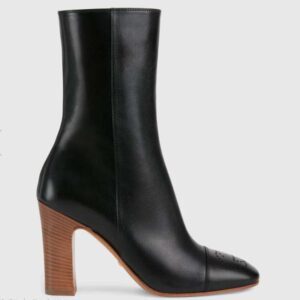 Gucci GG Women Ankle Boot with Interlocking G Black Leather 9 cm Heel