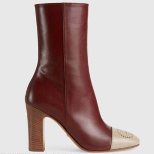 Gucci GG Women Ankle Boot with Interlocking G Maroon Leather 9 cm Heel