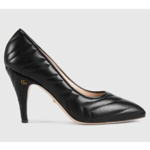 Gucci GG Women Matelassé Pump Black Matelassé Chevron Leather 10 cm Heel