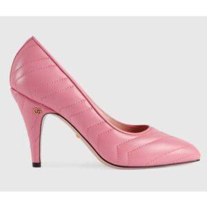 Gucci GG Women Matelassé Pump Pastel Pink Matelassé Chevron Leather 10 cm Heel