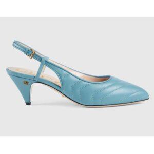 Gucci GG Women Matelassé Sling Back Pastel Blue Matelassé Chevron Leather 7 cm Heel