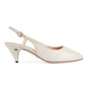 Gucci GG Women Matelassé Sling Back White Matelassé Chevron Leather 7 cm Heel