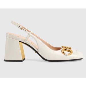 Gucci GG Women Mid-Heel Slingback with Horsebit Python Print Leather White